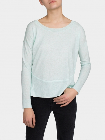 Cotton Pieced Rib Crewneck