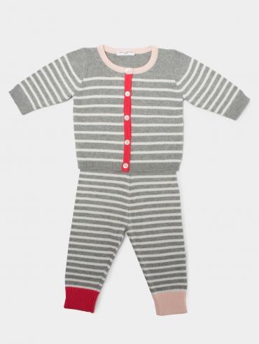 Cotton Stripe Baby Cardigan + Legging