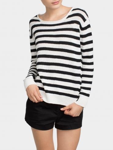 Linen Bold Stripe Crewneck