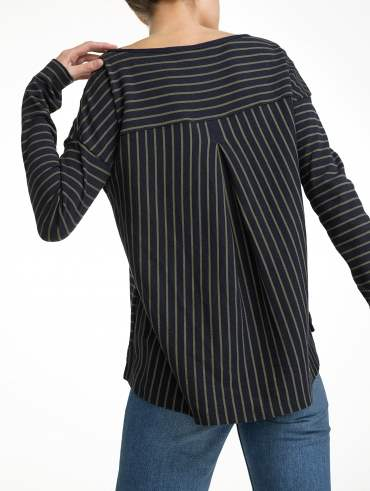 Combed Cotton Directional Stripe Boatneck