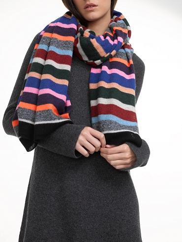 Cashmere Variegated Stripe Travel Wrap